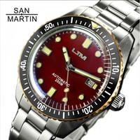 wasserdichte uhrenringe großhandel-San Martin Sixty-Five Männer Vintage Taucheruhr Edelstahl Automatikuhr 200 Wasserdicht Bronze Ring Retro Armbanduhr