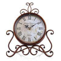 Wholesale Clocks European Vintage - European Style Retro Wrought Iron Craft Table Clock Home Decoration Bronze Gold Mute Table Clock Handicraft Vintage Alarm Clock