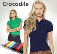 camisas de algodão simples venda por atacado-Mulheres Dos Homens de Alta Qualidade Crocodilo Bordado de Algodão Simples Sólida Preto Azul Marinho Pólo Vermelho Camisa Das Senhoras de Manga Curta Camisa Polo S-4XL Camisas Para
