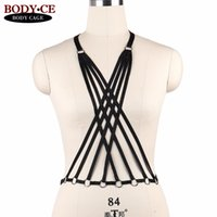 tops de danza caliente al por mayor-Hot Womens Black Sexy Body Bondage Arnés sujetador Lencería Elástico Strappy Tops Jaula Bustier Fetiche Burlesque Dance Dress Rave Wear