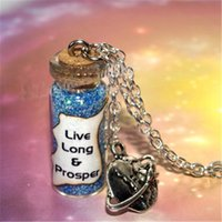 Wholesale Living Earth - 12pcs lot Star Jewelry Live Long and Prosper Earth Charm Necklace, Spock Salute and Blessing Bottle Necklace