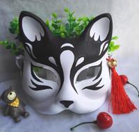 yetişkinler için siyah yarı maskeler toptan satış-Siyah Husky Köpek Maskesi El Boyalı Tilki Yarım Yüz Maskesi Cadılar Bayramı Noel Masquerade Maskeleri Yetişkin Kız Erkek