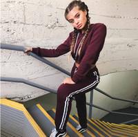 Wholesale yoga pants for ladies online - New Women Ladies Tracksuit Crop Hoodies Sweatshirt Pants Sets Leisure Wear Casual Suit Fashion High Quality for Women