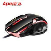 Wholesale Optical Mouse Scroll Wheel - Apedra A9 USB Port Wired Gaming Mouse 3200DPI Optical Laser Mice 6 Buttons Computer PC with Scroll Wheel Gamer for Notebook Desktop
