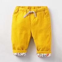 flores de calças amarelas venda por atacado-Calças Da Menina do bebê Calças Do Bebê Criança Impressão Flor Calças Elásticas de Algodão Puro Amarelo Cordão Calças Roupas Infantis