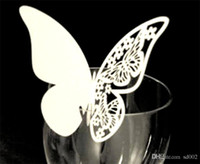 Wholesale butterfly card shapes resale online - Diy Butterfly Shape Place Cards Wedding Party Home Decor Inserting Card With Mix Color Hollow In Cup Eco Friendly dd jj