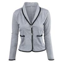 ingrosso blazer clothing for women-Casual Blazer da donna Cappotto Outwear Autunno Moda Elegante Blazer da ufficio Feminino Solido grigio Nero Abbigliamento da festa Plus Size 6XL