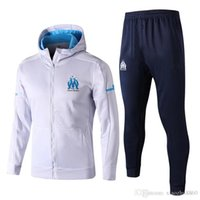 Wholesale Hat Kits - Top quality 2017 2018 Olympique Marseille Soccer Tracksuit jacket with hat GOMIS CABELLA PAYET SANSON 17 18 football training jacket kit
