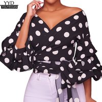 2581bf59 Summer Tops For Womens Tops and Blouses 2018 Elegant Polka Dot Puff Sleeve  V Neck Shirts Tunic Ladies Top Womens Clothing