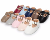 Wholesale baby white mary jane shoes - 2017 Autumn Newborn girls soft sole baby moccasins pu leather crib shoes first walkers Mary jane Princess Ballet Shoes