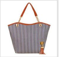 amerikan stili poşetler toptan satış-Tuval püskül dikey şerit çanta Avrupa ve Amerikan tarzı omuz çantası çanta zincir big bag trend tote