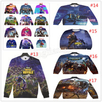 Wholesale mens christmas shirts - 6pcs Fortnite sweatshirt 17 designs Big Kids Student Mens 3D Print Fortnite Breathable Loose Long Sleeved T shirts Big Kids Clothing MMA234