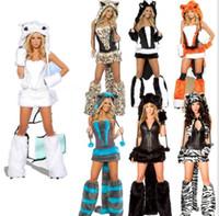 ingrosso uniformi di costumi da ballo-Nuove vendite Sexy costumi animali per le donne uniformi di Halloween Costume sexy gatto grandi code leopardo Party Dance Cosplay