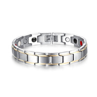 fashion magnetic therapy bracelet UK - Fashion Men Magnetic Bracelets Silver-color Titanium Steel Healthy Therapy Bracelet for Mens Cuff Bangles Wristband Jewelry