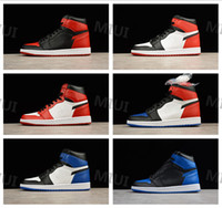 Wholesale red basketball high top shoes resale online - High Quality OG Bred Toe Black Red Men Basketball Shoes Chicago s Sports Sneakers Top Banned Game Royal Blue Size