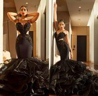 ingrosso innamorato di merletto nero della sirena-Mermaid Black Lace Prom Dresses 2018 Sexy Sweetheart Spaghetti Strap Open Back Abiti da spettacolo pageant formali