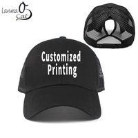 bb4b416f69b customized baseball caps NZ - Lanmaocat Female Mesh Snapback Cap Custom  Print Women Baseball Cap with