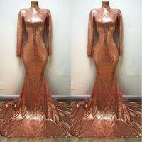 fotos de rosas naturais venda por atacado-2018 elegante alta neck rose gold vestidos de baile sereia lantejoulas mangas compridas fotos reais vestidos de noite ba8242
