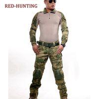 taktik pantolon gömlek toptan satış-ACU CP FG Taktik Kamuflaj Üniforma Giysi Takım Erkekler ABD Ordusu giysileri Savaş Gömlek + Kargo Pantolon Diz Pedleri