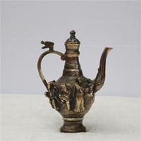 pots antiques achat en gros de-Artisanat Décoratif Antique Flagon Gilt Pots Collectibles Pots De Cuivre Pur Ornements Théière Chinois Huit Immortels Art Métallique 65sx ff