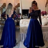 robe bleue abordable achat en gros de-Bleu royal robes de bal à manches longues perlées robes de soirée abordables Uk Sexy Deep V Retour Bow Sash robes de soirée d'été