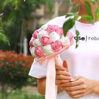 bouquet de fotos venda por atacado-Estúdio de Casamento Foto Simulação Segurando Flores Bouquets de Casamento Mulheres Estilo Country Bridal Party Presentes flores Artificiais 2018 CPA1587