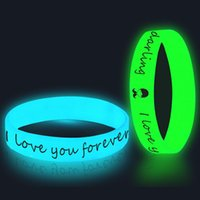 Wholesale customized unisex bracelets resale online - 100pcs Customized Glow in the Dark Wristbands Luminous Bangles Printing Logo Text Wristband Bracelets Silicone ands Gift