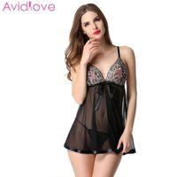 string xxxl venda por atacado-Avidlove 2018 New Elegante Mulheres Nightwear Babydoll Sleepwear Lingerie Sexy Vestido De Emenda De Renda e G-String D18110801
