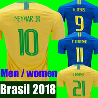Wholesale Shirt S - NEYMAR JR Brasil soccer jerseys 2018 World cup men women Brazil Jersey JESUS COUTINHO MARCELO FIRMINO football kit shirt camisa de futebol