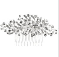 Wholesale butterfly hair comb wedding online - New Crystal Butterfly Flower Hair Combs Charm Women Bridal Wedding Hair Accessories Headwear Luxury Quality Hair Jewelry
