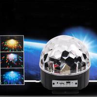 disko ışıkları mp3 toptan satış-Lumiparty BLUETOOTH MP3 Kristal Sihirli Dönen Top Uzaktan kumanda partiler için 6 renkler RGB disko topları ışıkları / LED Sahne Işıkları