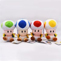 Wholesale super mario toad plush - Mushroom Super Mario Bros Toad Doll Fluffy PP Cotton Stuffed Plush Toy Gift For Baby Kid Halloween Christmas Collection 9gf YY