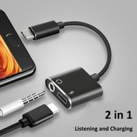 usb kulaklık jakı adaptörü toptan satış-USB C Tipi Adaptör Şarj Ses Kablosu 2 1 Tip-C 3.5mm Jack Kulaklık Aux Dönüştürücü Için Samsung Için Xiaomi Için Huawei