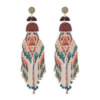 ingrosso orecchini fatti a mano delle nappe-Nuovi arrivi donne gioielli bohemi etnici esotici Boho lungo nappa ciondola gli orecchini fatti a mano con perline multistrato orecchini nappa