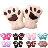 çocuklar için hayvan eldivenleri toptan satış-Bebek hayvan peluş eldiven Karikatür kedi pençe çocuklar Parmaksız Mitten 11 renkler sonbahar kış Açık bebek sıcaklık Eldiven C5316