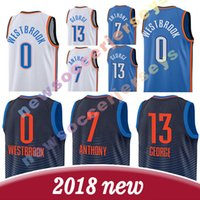 74ba4671e 0 Russell Westbrook Oklahoma City 13 Paul George 7 Carmelo Anthony 2018  hommes nouveau broderie Logos Maillot de basket-ball