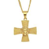 Wholesale indian men gold chain design for sale - New Fashion Design Hip Hop Necklace L Stainless Steel Gold Plated Cross Jesus Face Pendant Necklace for Men Women Rapper Necklace
