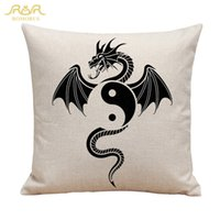 Wholesale Ivory Ornament - wholesale Dragon Tai Chi Printing Tattoo Cushion Cover Linen Cotton Decorative Throw Pillowcase for Sofa Car House Ornament Animal