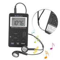 auricular estéreo receptor al por mayor-Mayitr 1set FM / AM 2 bandas estéreo Mini Pocket Radio 31 niveles de ajuste de volumen Receptor de radio Pantalla LCD + Auriculares