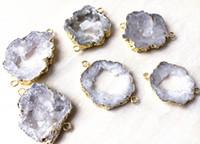 doğal jeod mücevherleri toptan satış-Doğal Kaya Kristal Kuvars Geode Bağlayıcı Druzy Boncuk, Takı için dilim Akik Druzy Taş Bağlayıcı Boncuk