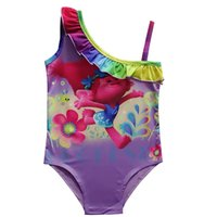 61eec5a491 2018 New Magic Elf Trolls Girls Swimwear One Shoulder Tiny Band Sling Swimwear  Summer Swimsuit Children's Pool Bathing Suits 2 Colors