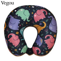 Wholesale U Shaped Airplane Pillow - Vegou Microbeads Neck U Shaped Pillow Car Travel Elephant Pillow Cartoon Animal Massager Bedding Sleeping Airplane Body Pillows
