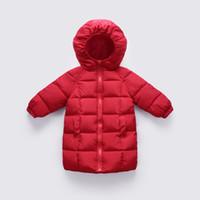 weiße mäntel für babys großhandel-2018 mode Kinder Weiße ente daunenjacken Mädchen Baby Warme Kleidung herbst winter Lange abschnitt Mantel parka kleidung