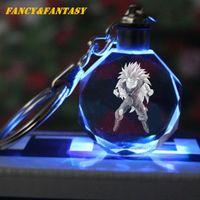 Wholesale White Pendant Lights - Fancy&Fantasy Light Up Dragon Ball Super Saiyan Crystal Keyring Son Goku Vegeta Trunks Buu Kame-Sen'nin Keychain LED Pendant