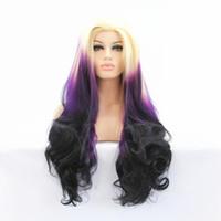 siyah beyaz karışık peruk toptan satış-ZhiFan dantel peruk beyaz kadınlar ombre dantel ön peruk derin kıvırmak mix renk 26 inç prenses tarzı mor + siyah + bej dantel ön saç parçaları