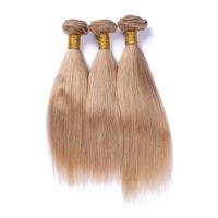 cheveux châtains aux cheveux bruns achat en gros de-Soyeux droite brésilienne miel blonde cheveux bleus armure d'armure # 27 lumière brune vierge remy extensions de cheveux humains double trames 3pcs lot