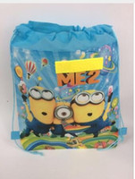 Wholesale girls black school shoes - kids children minions bag tote backpack string shoe bag for sweaty clothes school bag for boys and girls to school runners
