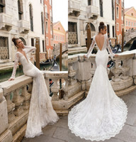 Wholesale julie vino backless wedding dress for sale - Group buy New Arrival Gorgeous Julie Vino Mermaid Wedding Dresses Deep V Neck Long Sleeves Backless Court Train Full Lace Bridal Gowns