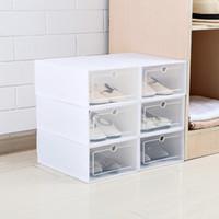 caisses à chaussures achat en gros de-6pcs / ensemble épaissie bascule chaussures tiroir transparent cas boîtes à chaussures en plastique boîte empilable boîte de rangement organisateur de stockage de chaussures