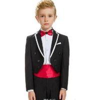 traje para novio al por mayor-Trajes de boda para niños Tailcoats Flower Boy Groom Tuxedos Doble botonadura 2 piezas Slim Party Kids Suit GT903